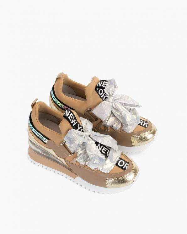 Beżowe sneakersy z kokardą  083-88-113-BEŻOW