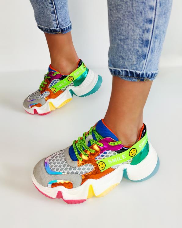 Wielokolorowe sneakersy z siatką  083-153-POMARANC
