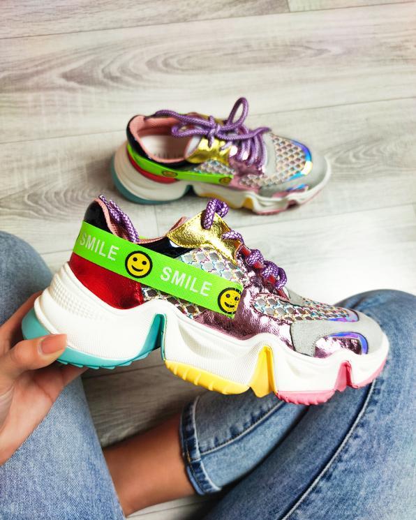 Wielokolorowe sneakersy z siatką  083-153-FIOLET