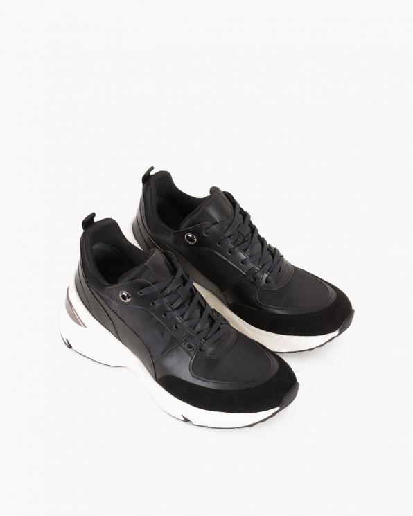 Czarne sneakersy skórzane  083-129-5-CZARNY
