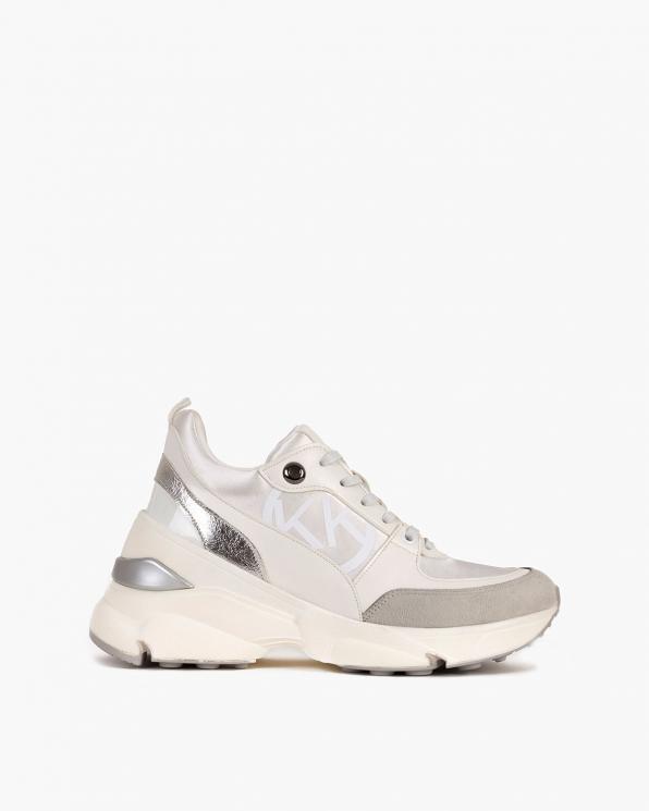 Szaro-białe sneakersy skórzane  083-129-5-BIAŁY