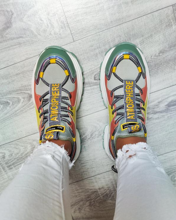 Wielokolorowe sneakersy skórzane  083-124-KOLOROWE