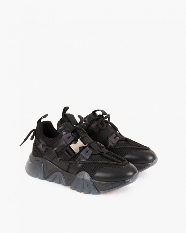 Czarne sneakersy z klamrą  083-104-CZAR