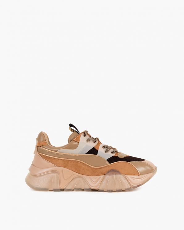 Brązowo-beżowe sneakersy z siatką  083-103-BEŻOWE