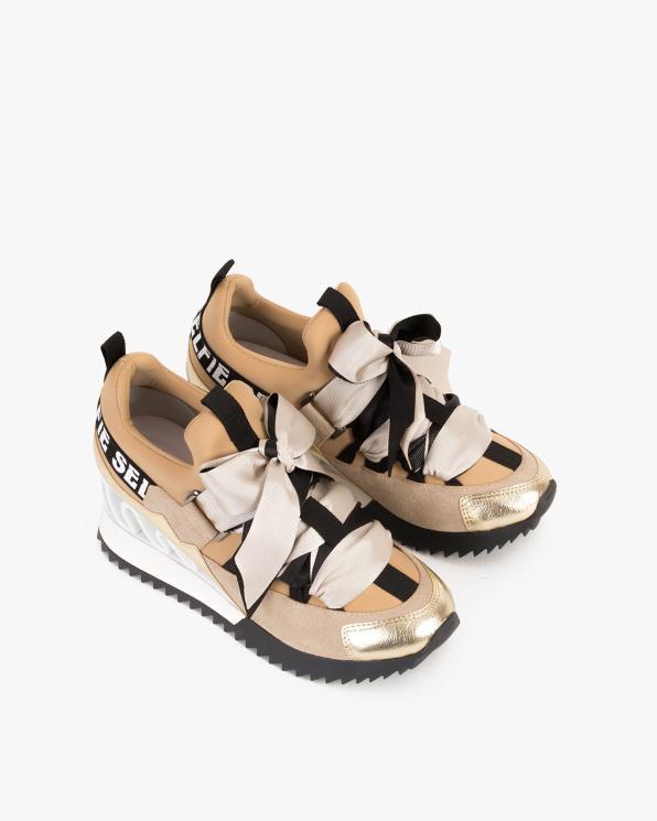Beżowo-złote sneakersy ze wstążką  083-88-BEŻ-N