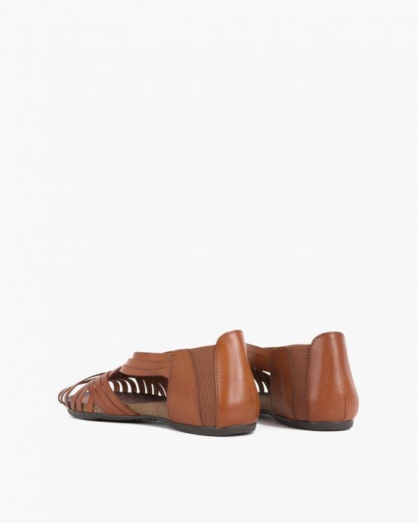 Brązowe sandały damskie skórzane płaskie  009-4021-ROBLEE