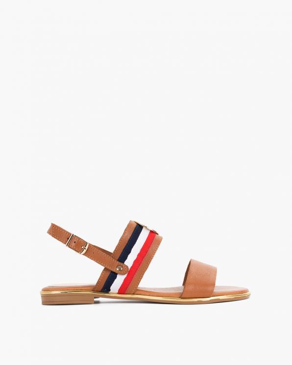 Rude sandały damskie skórzane z ozdobą  055-3202-RUDY