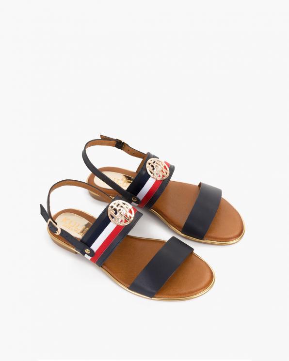 Granatowe sandały damskie skórzane z ozdobą  055-3202-GRANAT