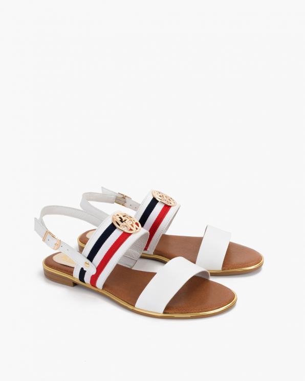 Białe sandały damskie skórzane z ozdobą  055-3202-BIAŁE