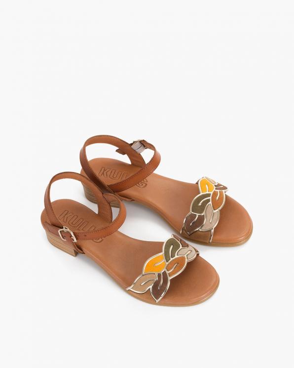 Brązowe sandały damskie skórzane z ozdobą  009-9031-CUERO