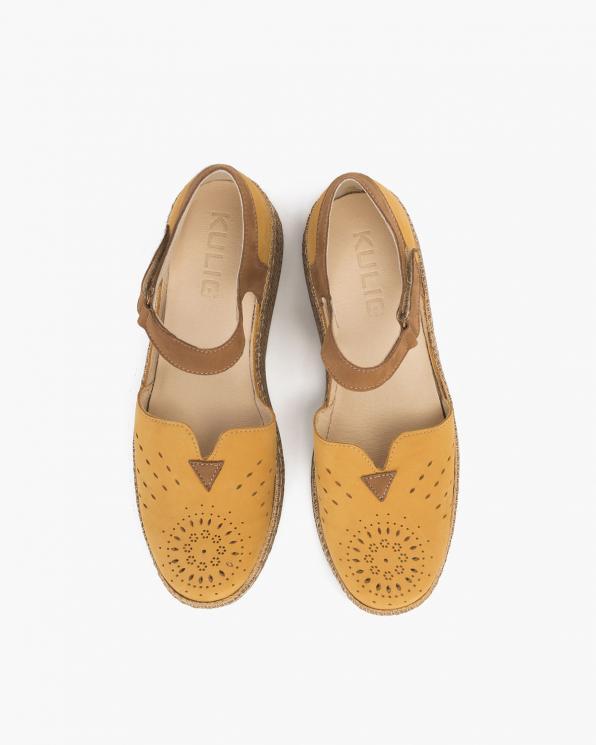 Żółte sandały damskie nubukowe espadryle  110-826-ZÓŁTY