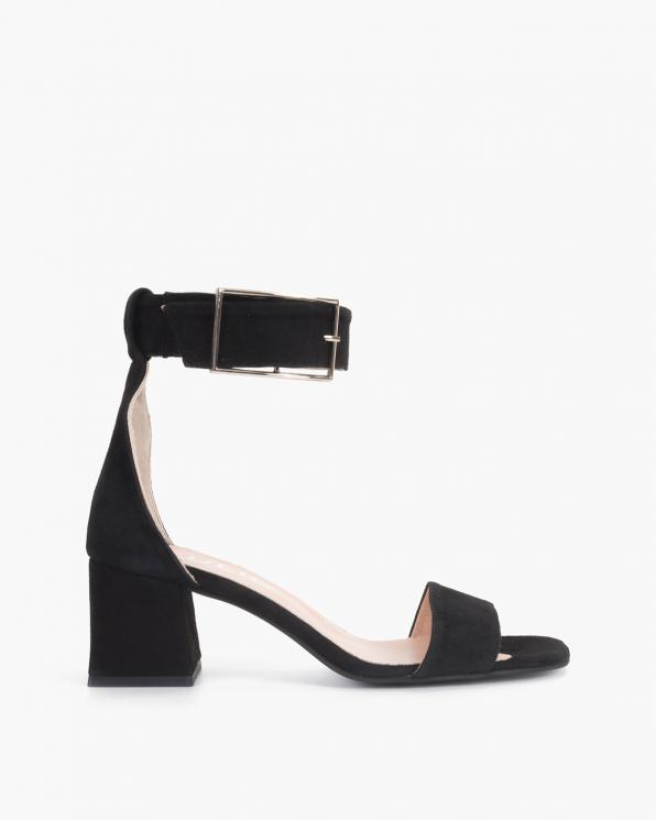Czarne sandały damskie zamszowe na klocku  108-8218-CZARNY