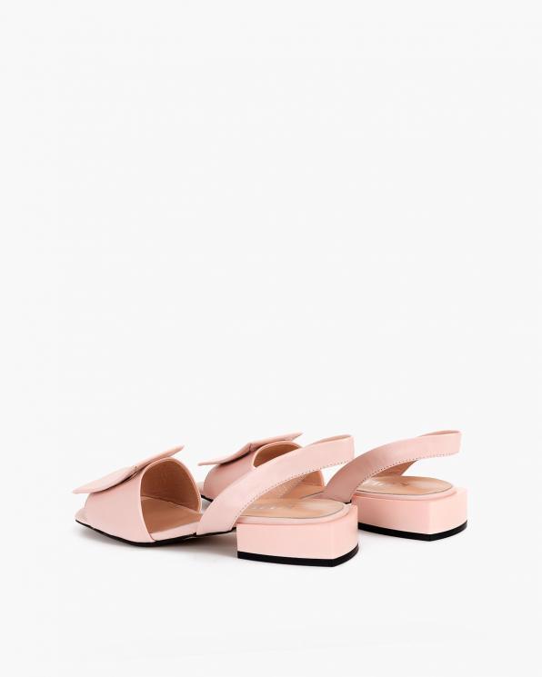 Pudrowe sandały damskie skórzane  108-805-RÓŻ