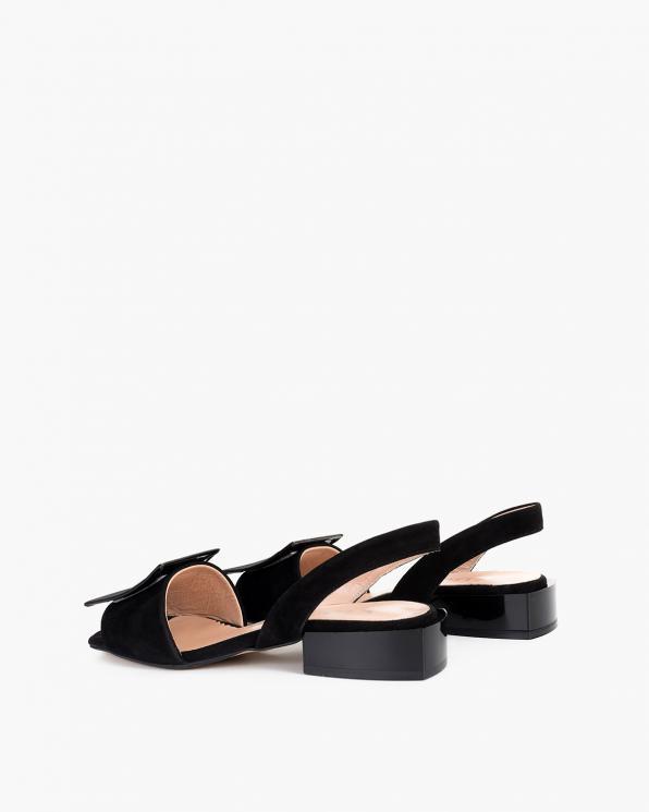Czarne sandały damskie welurowe  108-805-CZARNY