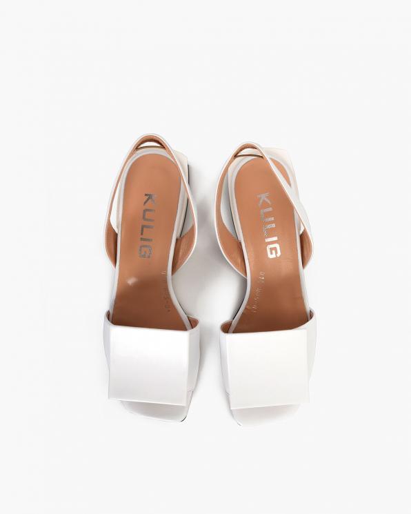 Białe sandały damskie skórzane  108-805-BIAŁY