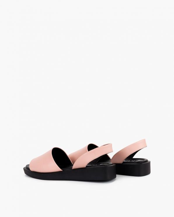 Pudrowe sandały damskie skórzane  108-685-PUDROWY