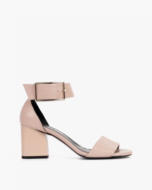 Beżowe sandały damskie skórzane na słupku  108-568-CAPUCINO