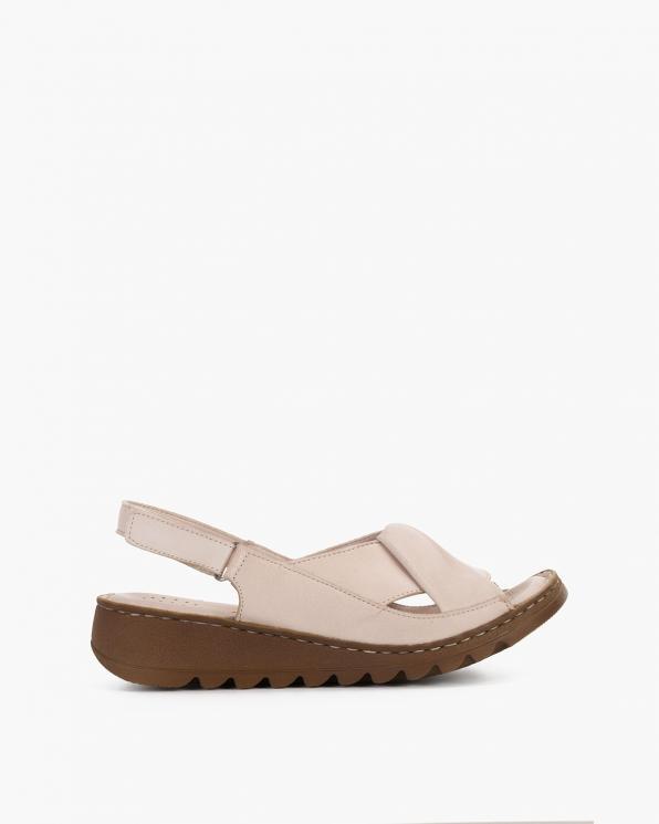 Beżowe sandały damskie skórzane  108-553-BEŻ