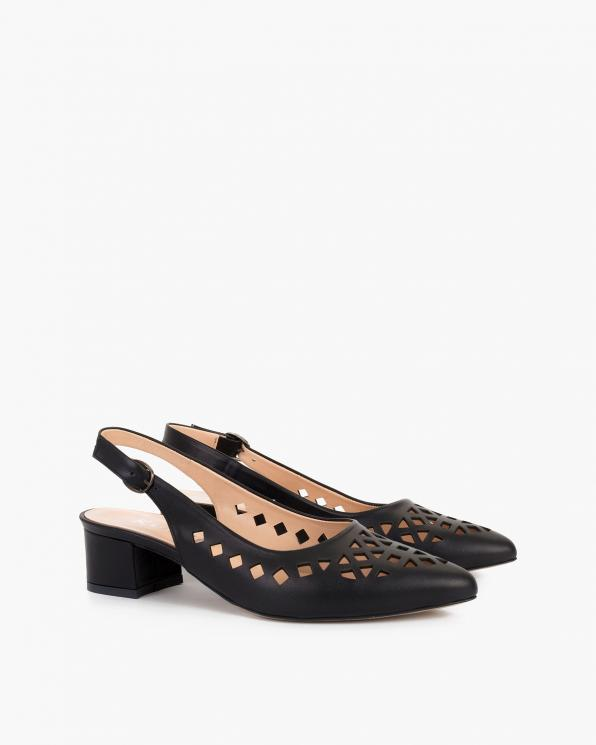 Czarne sandały damskie skórzane na klocku  108-522-CZARNY