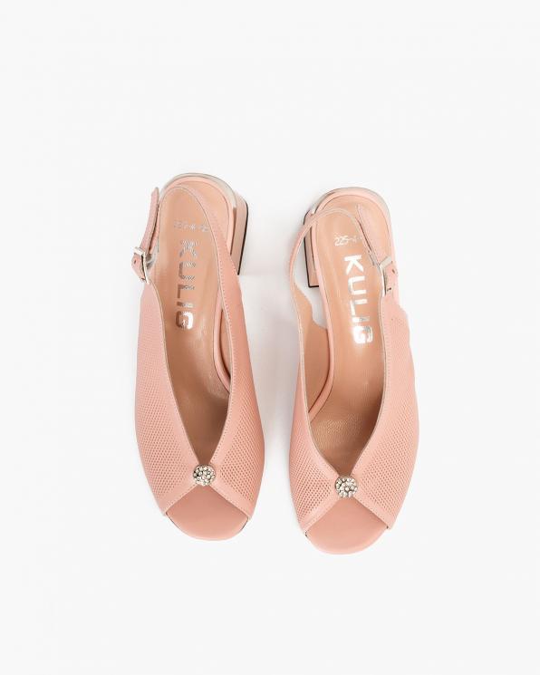 Pudrowe sandały damskie nubukowe peep toe  108-506-PUDROWY