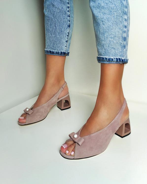 Pudrowe sandały damskie welurowe peep toe  108-503-BEŻOWY