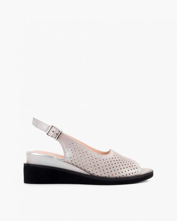 Beżowe sandały damskie nubukowe na koturnie  108-123-11