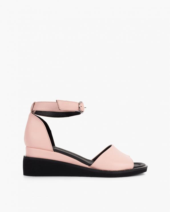 Pudrowe sandały damskie skórzane na koturnie  108-1071-RÓŻ