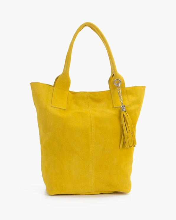 Żółta torebka damska zamszowa typu worek  107-ZAMSZ-ŻÓŁTY