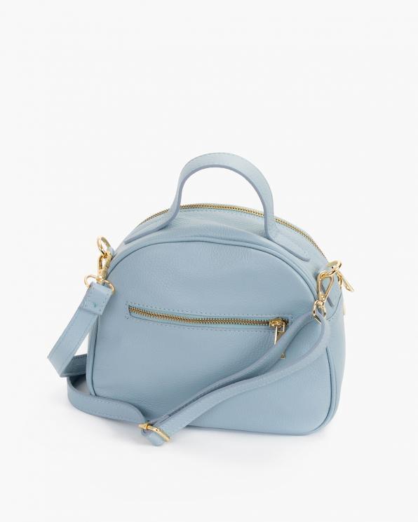 Błękitny kuferek damski skórzany z ptakami  107-KUFEREK-BŁĘKIT