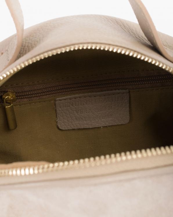 Beżowy kuferek damski skórzany z ptakami  107-KUFEREK-BEŻ