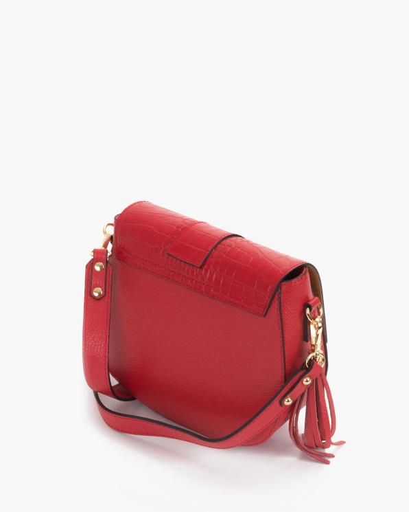 Czerwona torebka damska skórzana z ptakami  107-KROKODYL-CZERWON