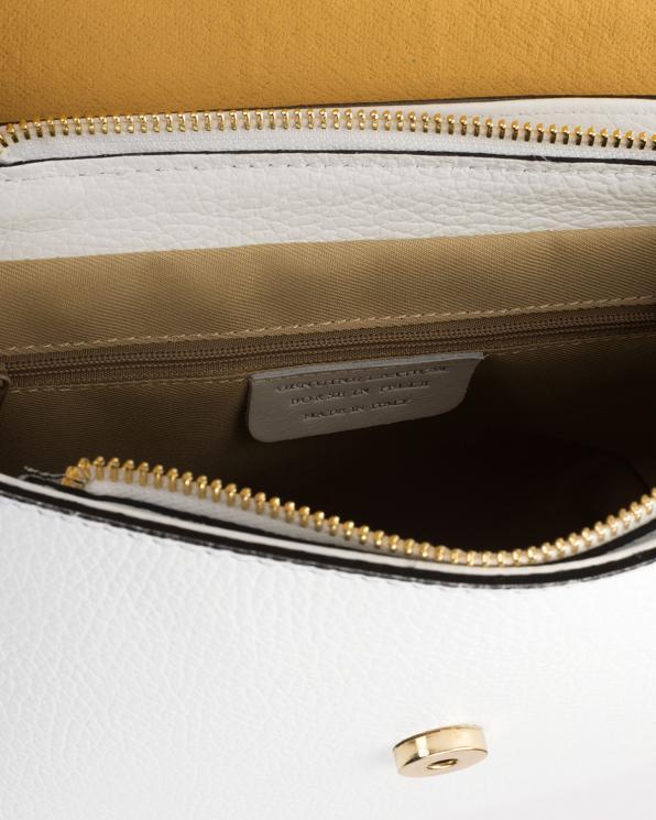 Biała torebka damska skórzana z ptakami  107-KROKODYL-BIAŁY