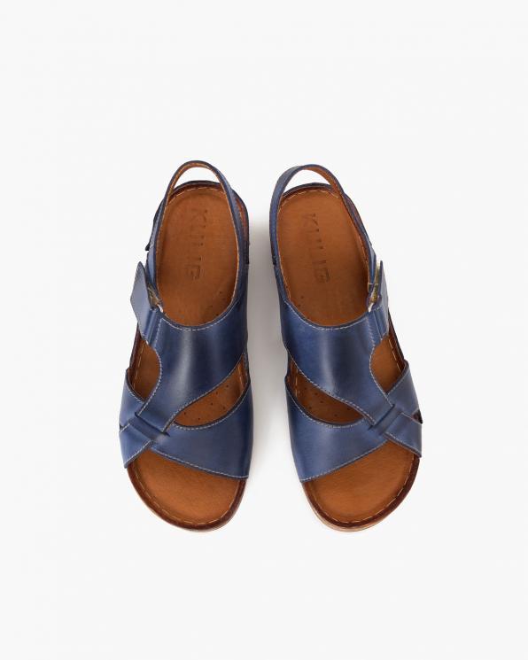 Niebieskie sandały damskie skórzane  112-809-NIEBIESK