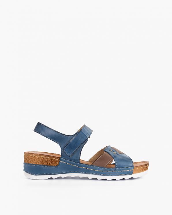 Niebieskie sandały damskie skórzane  110-620-JEANS-CA