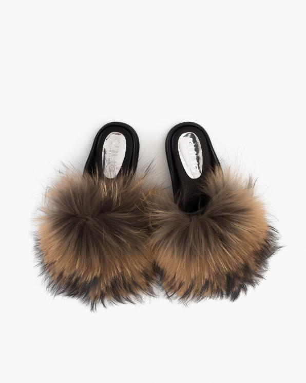 Brązowo-beżowe klapki damskie z futerkiem  055-502-BEŻ