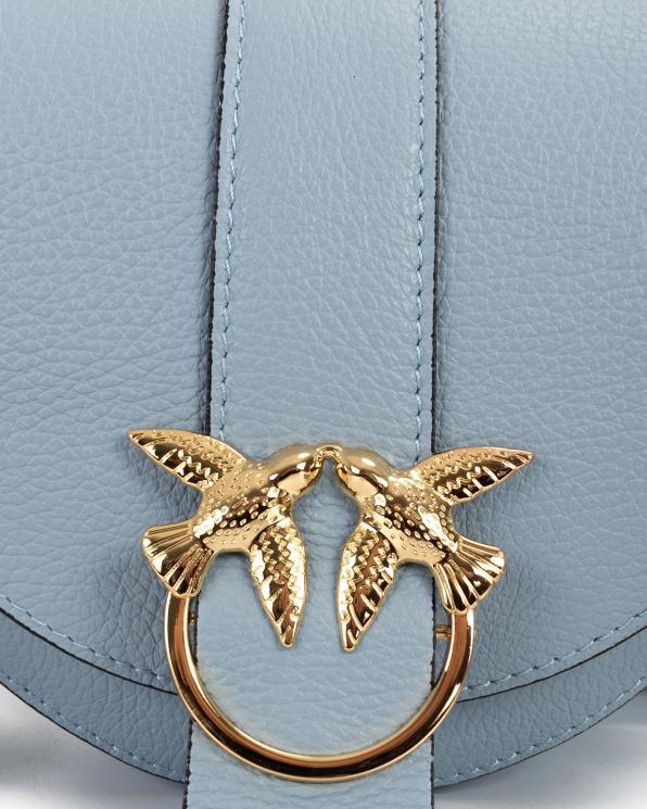 Błękitna torebka damska skórzana z ptakami  107-PTAK-BŁĘKITNA