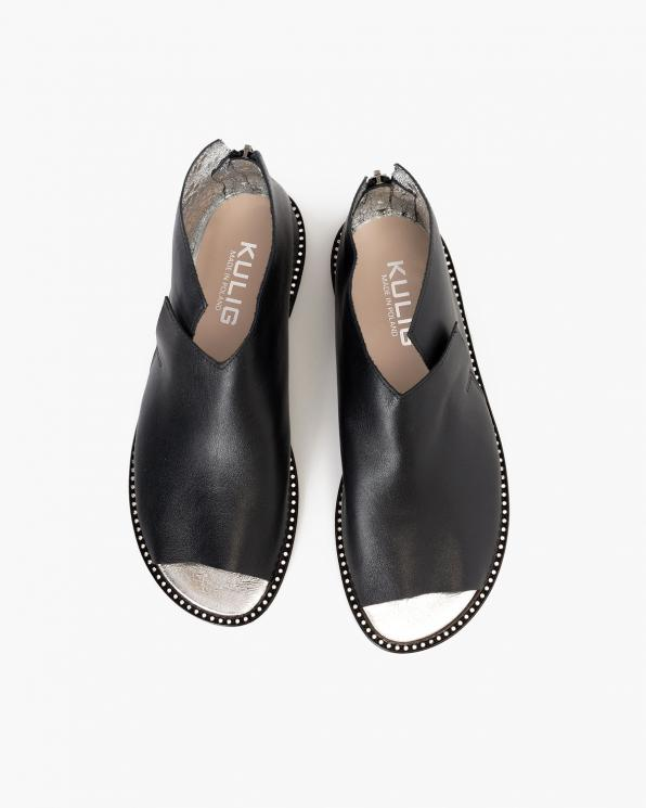 Czarne sandały damskie skórzane saszki  024-8679-80