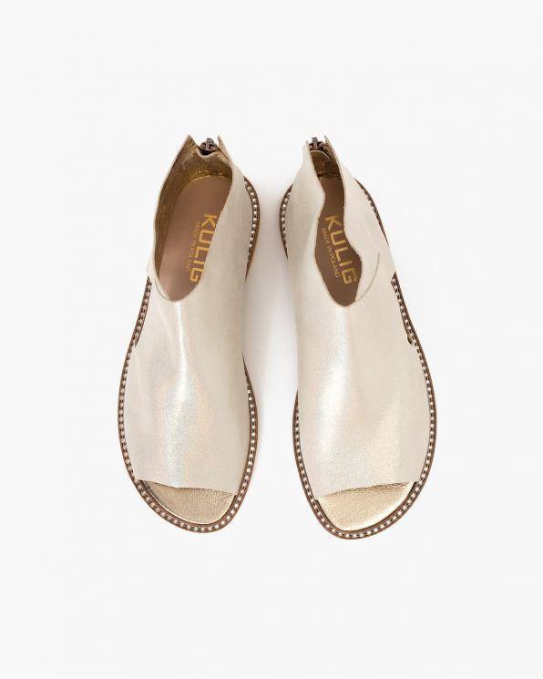 Jasnobeżowe sandały damskie nubukowe saszki  024-2879-6091