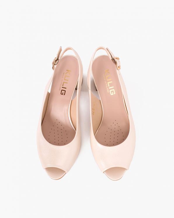 Perłowe sandały damskie skórzane na słupku  024-0389-2581
