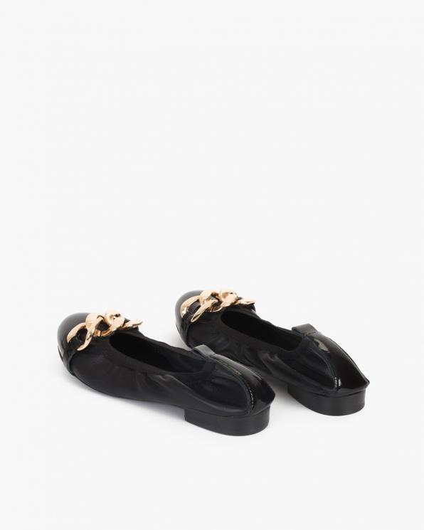 Czarne baleriny damskie z łańcuchem  113-8581-CZARNE