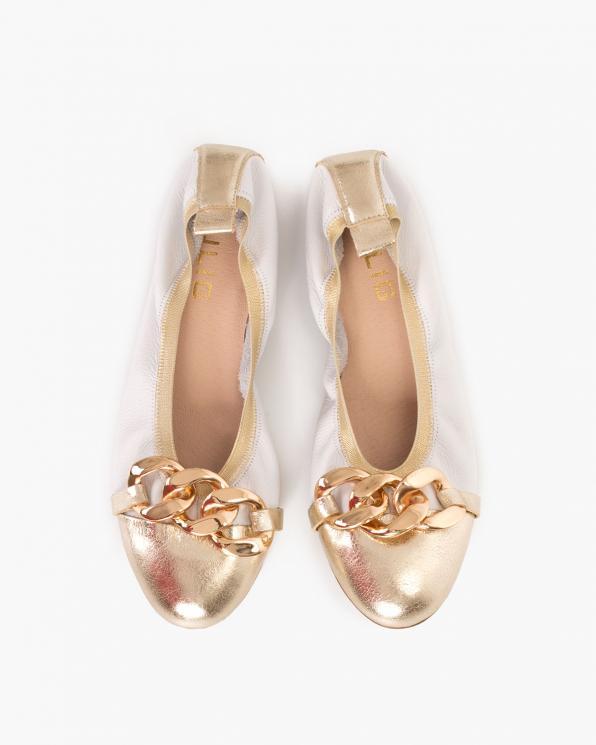 Biało-złote baleriny damskie z łańcuchem  113-8581-BIAŁE-L