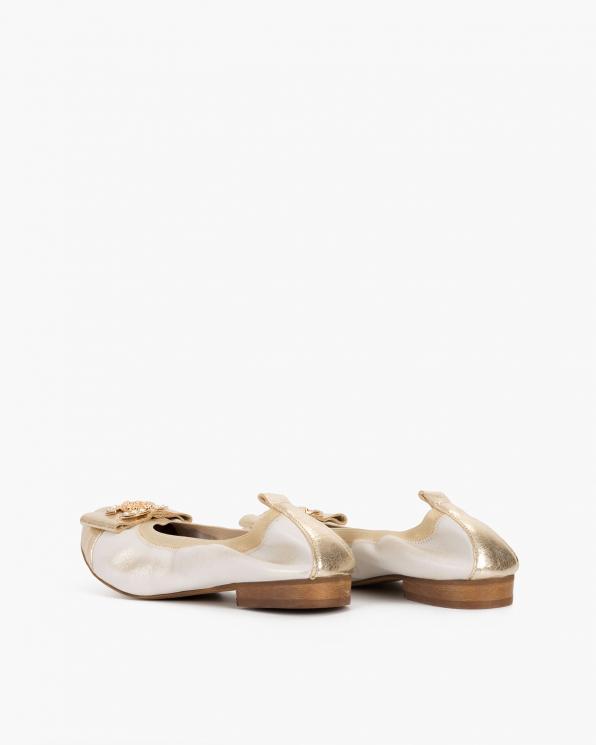 Złote baleriny skórzane z ozdobą  113-1061-ZŁOTE-L