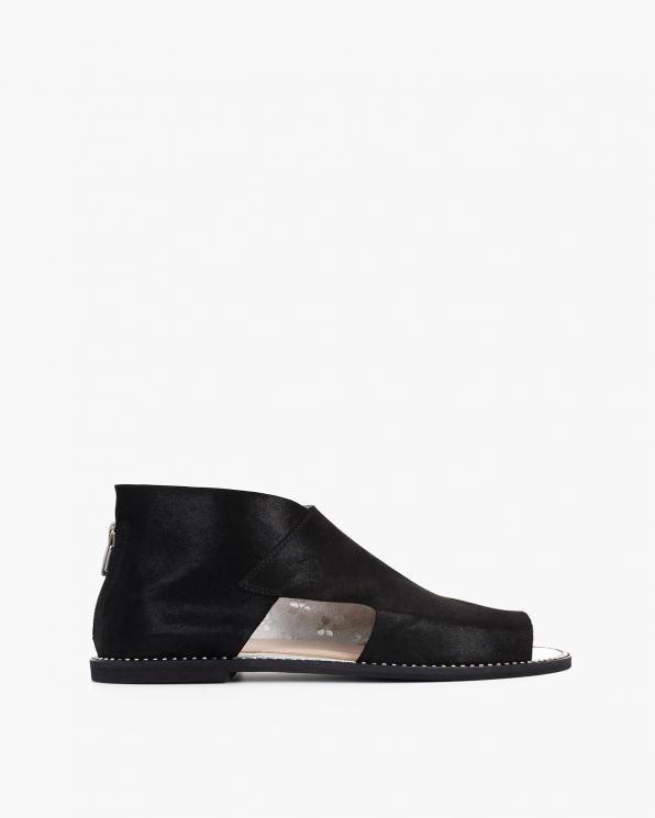 Czarne sandały damskie nubukowe saszki  024-2879-5441