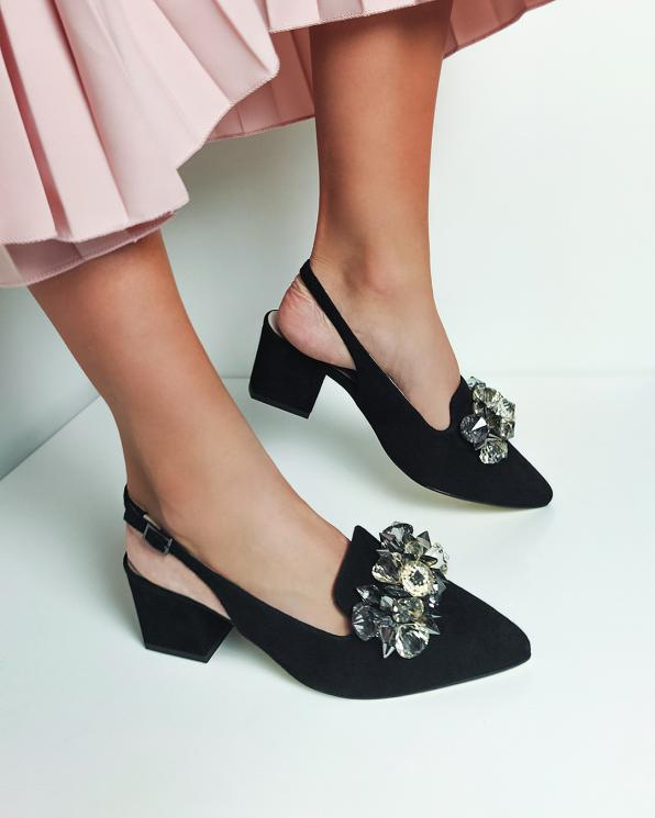 Czarne sandały damskie zamszowe z kamieniami  012-666-CZARNY