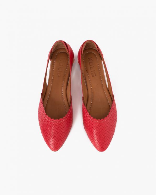 Czerwone baleriny skórzane plecione  078-14-508-CZERW