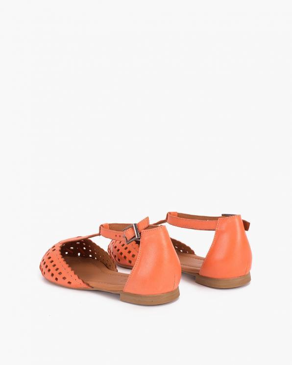 Pomarańczowe sandały damskie skórzane ażurowe  078-14-420-POMAR