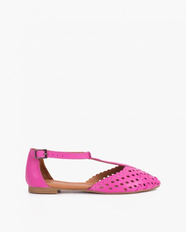 Fuksjowe sandały damskie skórzane ażurowe  078-14-420-FUKSJ