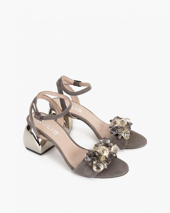 Szare sandały damskie zamszowe z kamieniami  012-993-TOUPE