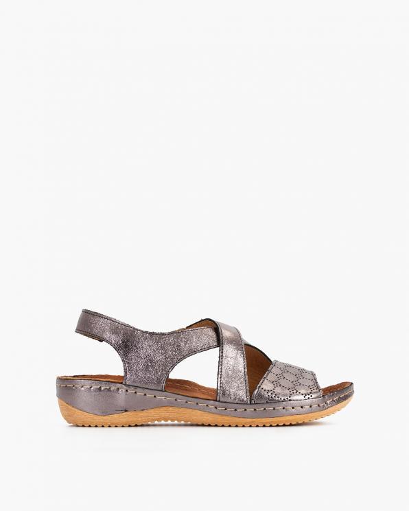 Platynowe sandały damskie skórzane  043-944-PLATYNA