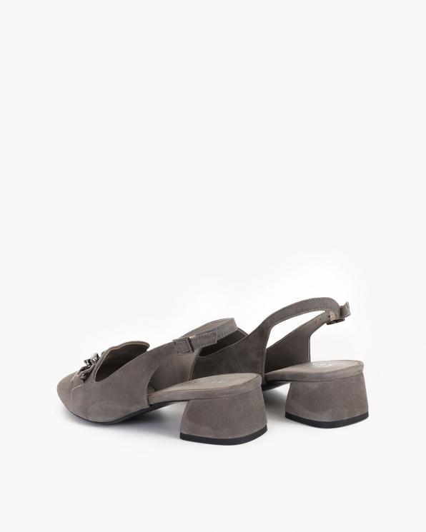 Szare sandały damskie zamszowe z ozdobą  012-318-TOUPE
